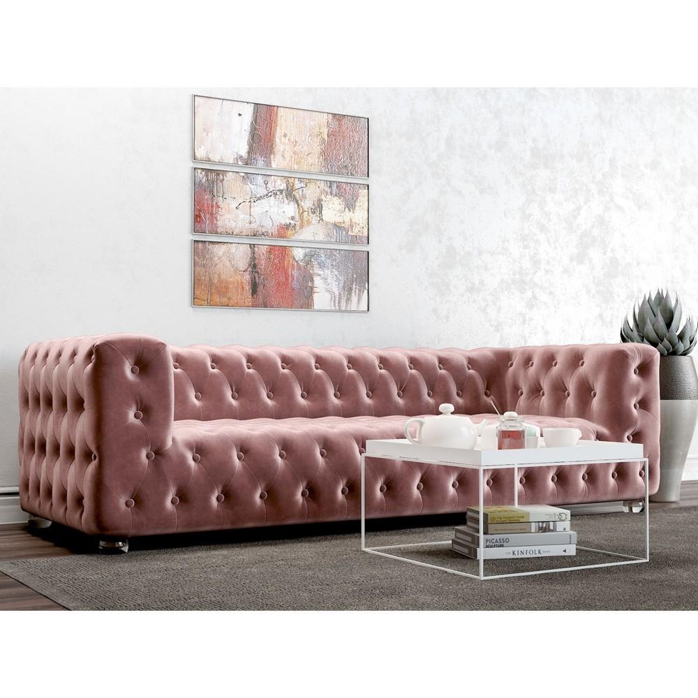 Image of Ruby Tufted Velvet Sofa Blush Pink - AF Lifestlye