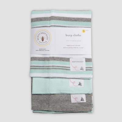 Burt's Bees Baby® Organic Cotton Burp Cloth Set - Aqua/Gray One Size