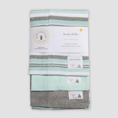 Burt's Bees Baby® Burp Cloth Set - Aqua/Gray One Size