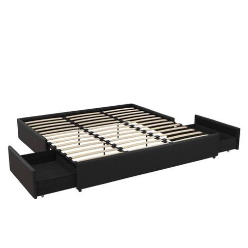 King Milania Faux Leather Upholstered Platform Bed With Storage Black Room Joy Target