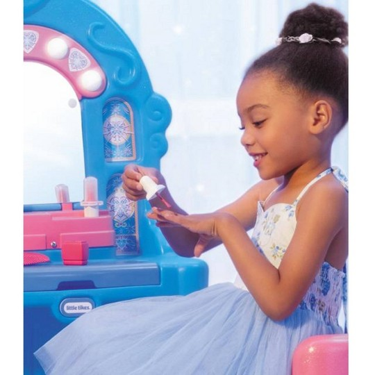 Little Tikes Ice Princess Magic Mirror Roleplay Vanity with Lights Sounds and Pretend Beauty Accessories image number null