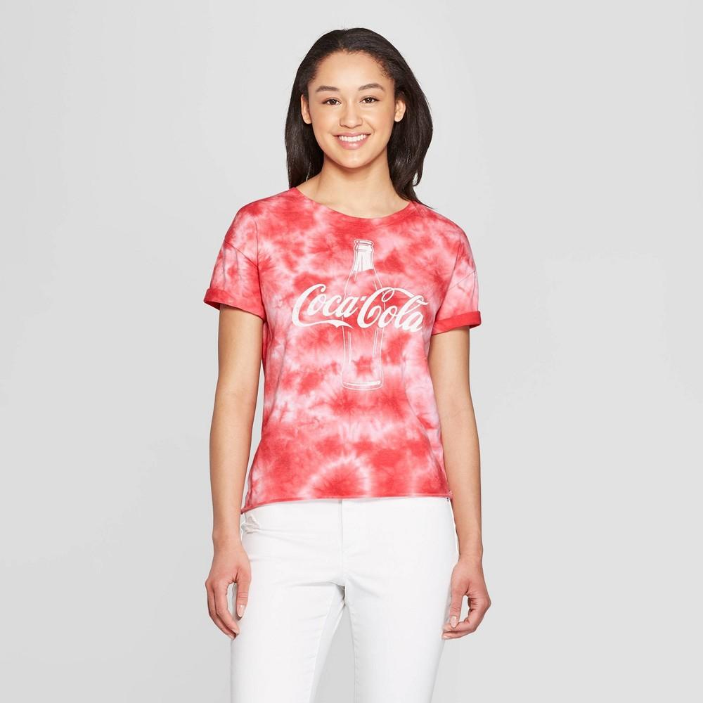 Women's Coca-Cola Short Sleeve Pop Bottle T-Shirt (Juniors') - Red L, Pink