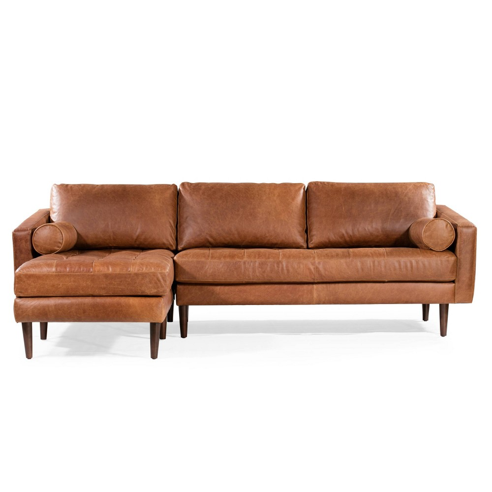 Image of Florence Mid Century Modern Left Sectional Sofa Cognac Tan - Poly & Bark, Red Tan
