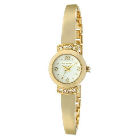Women's Peugeot® Petite Crystal Half Bangle Watch - Gold - image 1 of 2