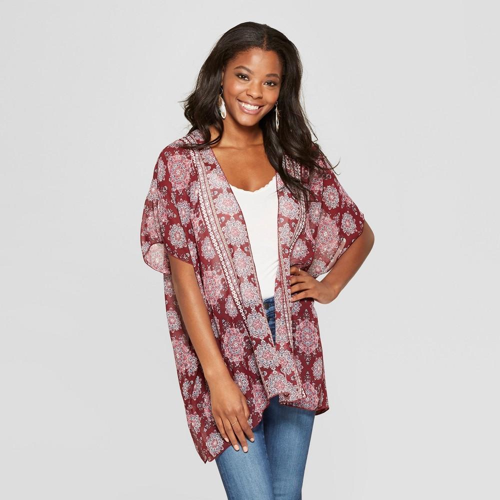 Women's Short Sleeve Sheer Kimono with Border Print Trim - Xhilaration Wine XS/S, Red