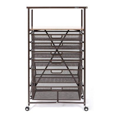 Origami CC6-Bronze Narrow Folding Storage Shelf Rolling Cart Unit with 6 Organizer Mesh Drawers in Bronze for Home, Office, or Dorm
