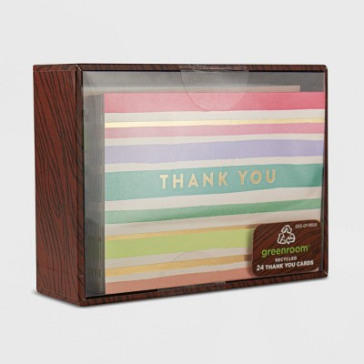 24ct Rainbow Stripe Blank Thank You Cards