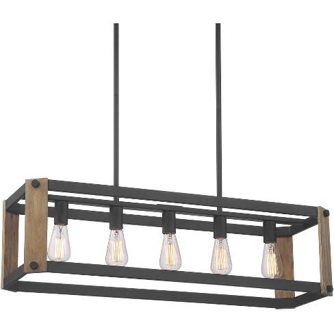 Possini Euro Design Black Linear Pendant Chandelier 36 1 4 Wide Rustic Farmhouse 5 Light Fixture For Kitchen Island Dining Room Target