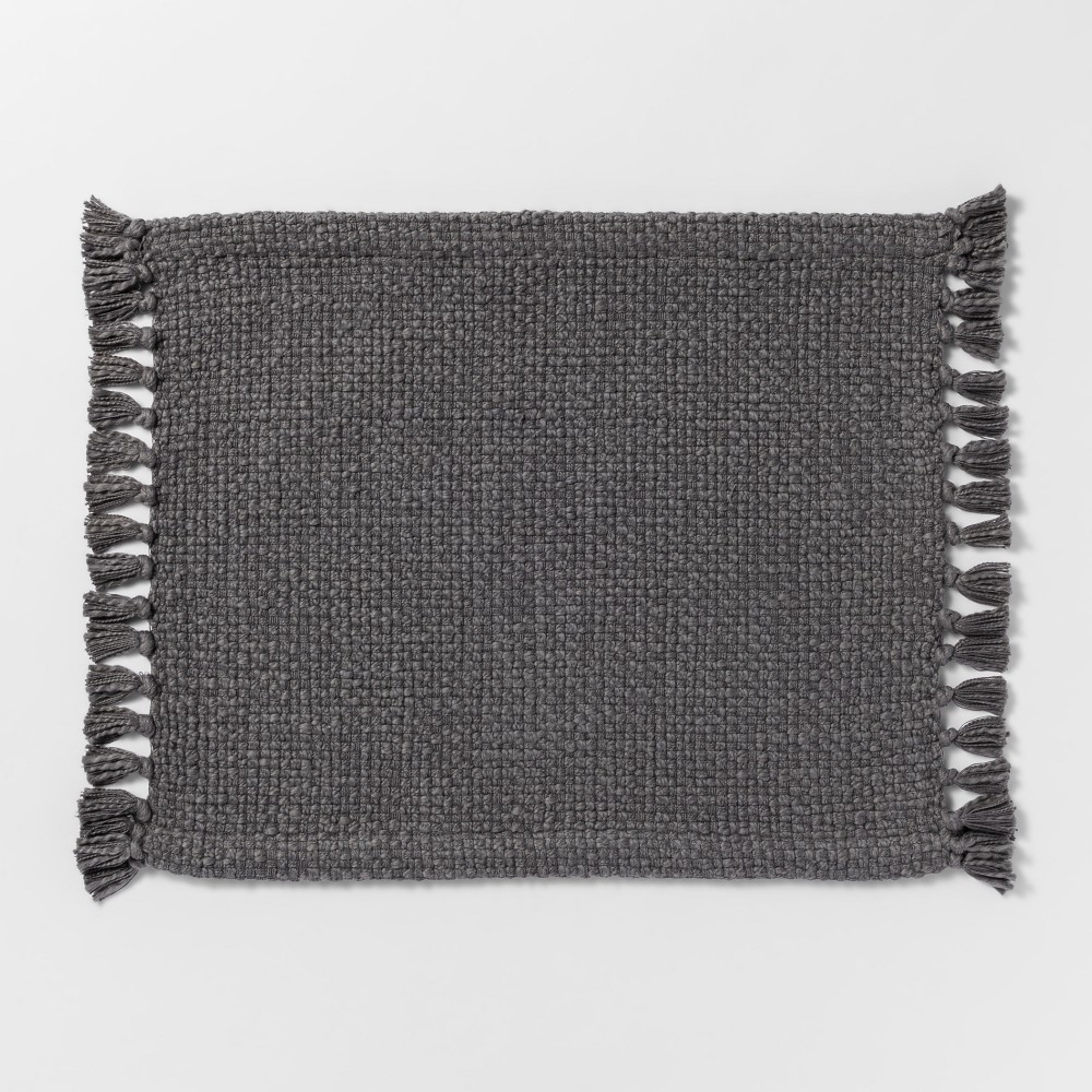 "Image of ""19""""x14"""" Basket Weave Placemat Gray - Threshold"""