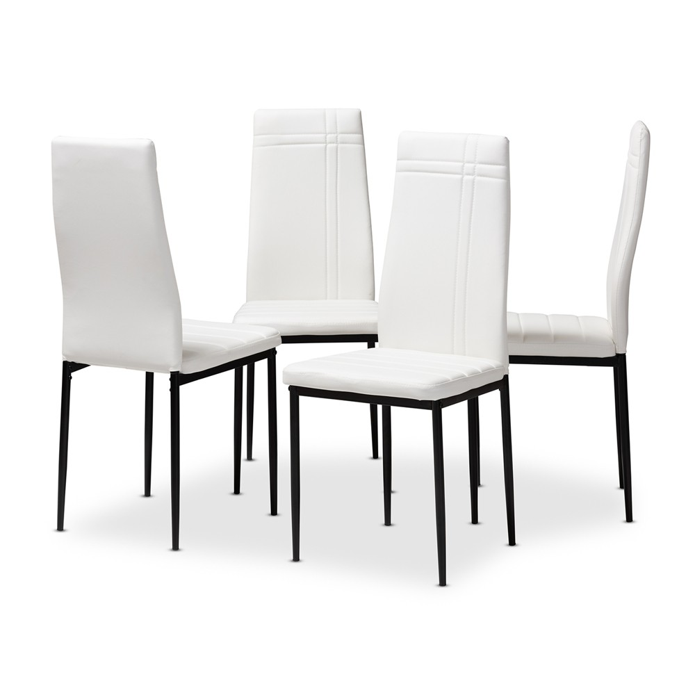 Matiese Modern and Contemporary Faux Leather Upholstered Dining Chairs Set of 4 White - Baxton Studio