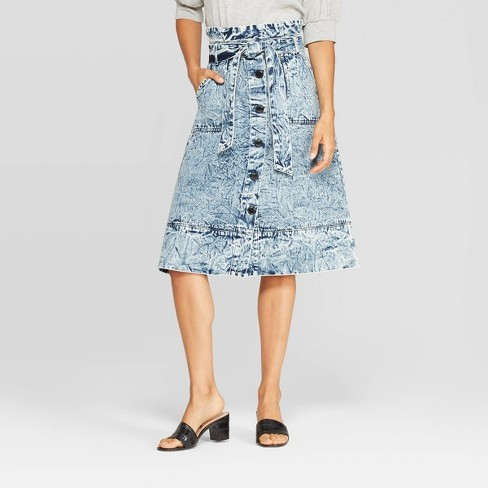 Women's Mid-Rise A Line Paperbag  Midi Skirt - Who What Wear™ Denim Blue - image 1 of 3