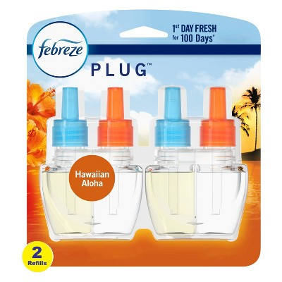 Febreze Plug Air Freshener Plug In Refill, Hawaiian Aloha with Fade Defy Technology - 2ct