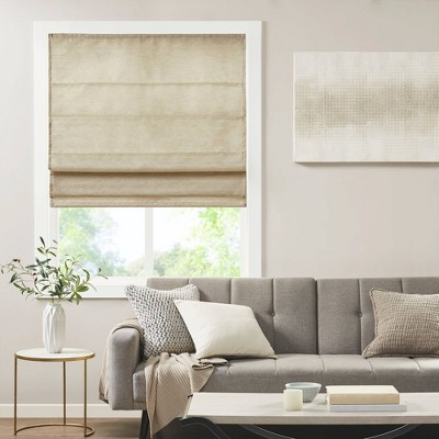 Aberdeen Printed Faux Silk Room Darkening Cordless Roman Blinds and Shade Taupe