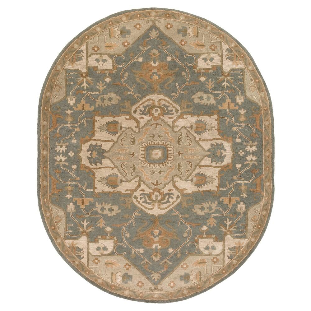 Demetrios Area Rug - Medium Gray, Khaki - (8' x 10' Oval) - Surya