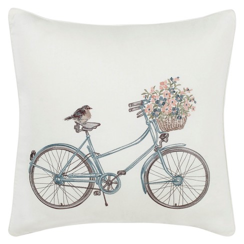 Natural Bicycle Throw Pillow - Laura Ashley - image 1 of 2