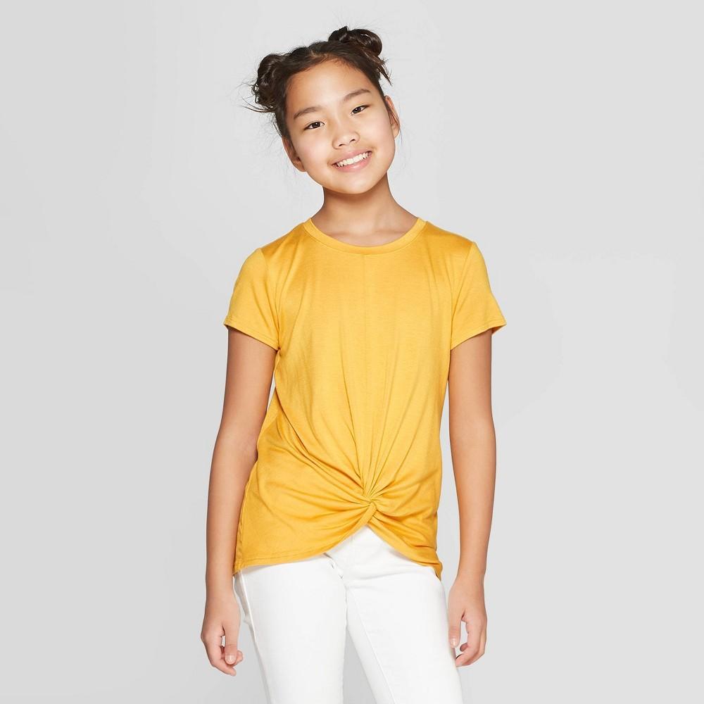 Girls' Short Sleeve Twist Front T-Shirt - art class Gold Xxl
