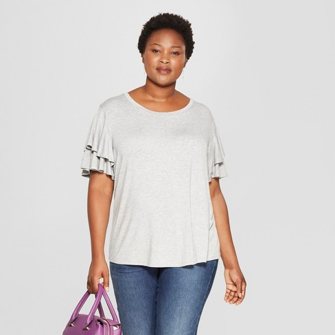 d7a03370d6c Women s Plus Size Short Flutter Sleeve Top - Ava   Viv™ Light Heather Gray