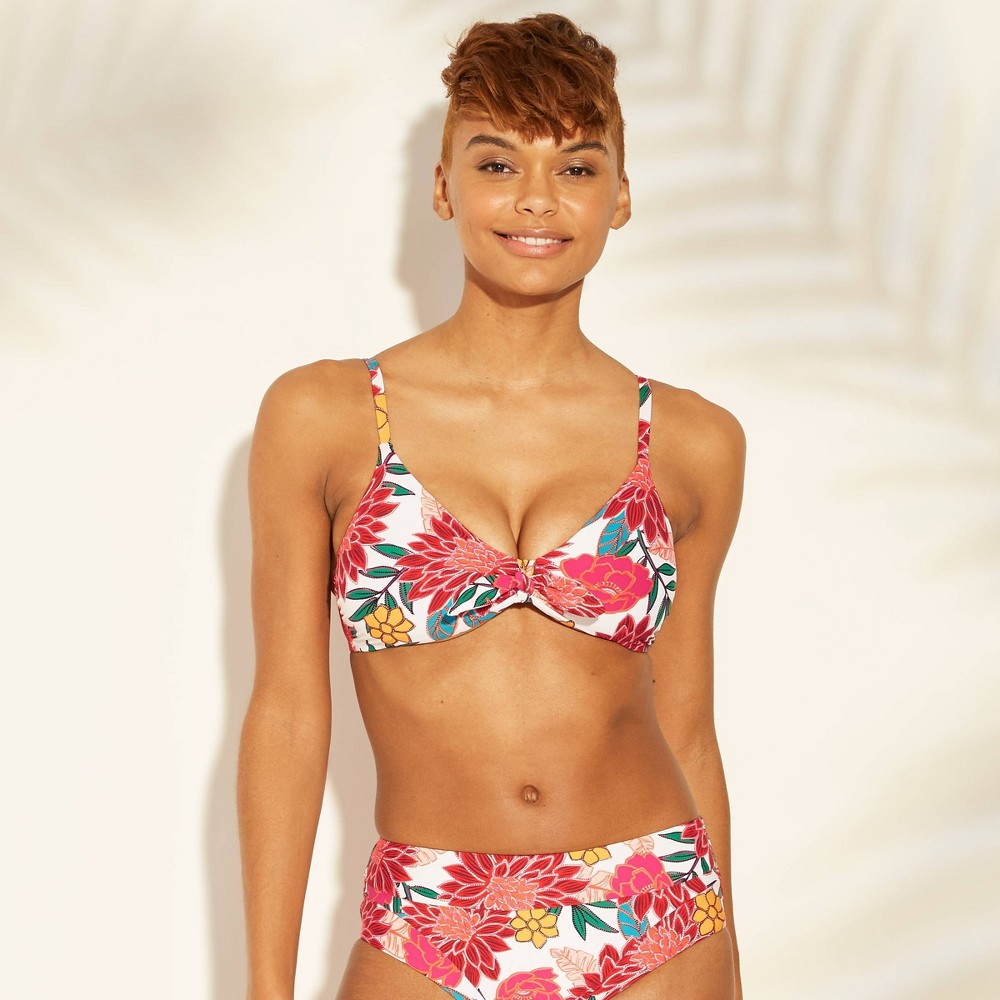 787494ea8b Womens Tie Front Bikini Top Sunn Lab Swim Pink Floral L Multicolored