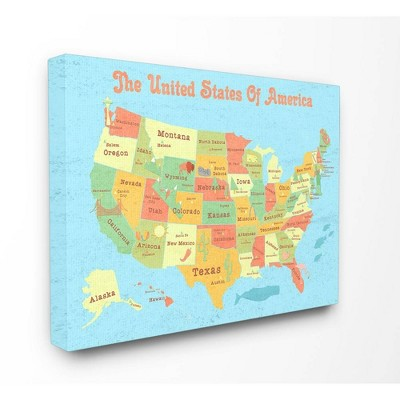"""16""""x1.5""""x20"""" United States of America Usa Kids' Map Stretched Canvas Wall Art - Stupell Industries"""