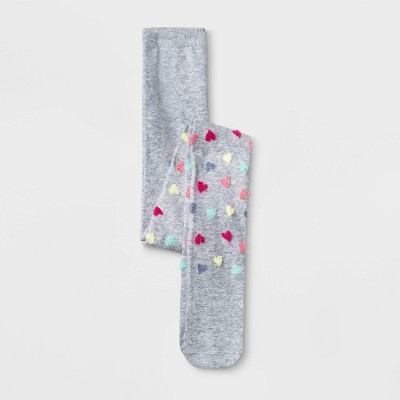 Girls' Heart Print Tights - Cat & Jack™ Gray