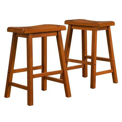 'Scoop 24'' Counter Stool - Oak (Set of 2), Size: 24'' Counterstool, Brown'