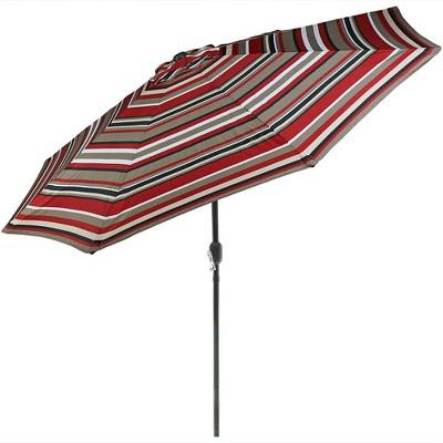 Sunnydaze Outdoor Aluminum Patio Umbrella, Tilt, and Crank - 9' - Awning Stripe