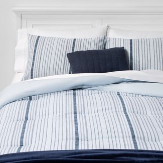 Twin/Twin Extra Long Line Work Stripe Bed in a Bag Blue - Room Essentials™