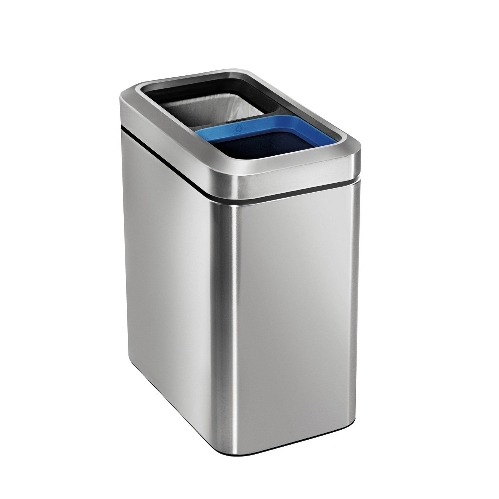 Image of simplehuman 20 ltr Slim Open Commercial Trash Can Dual Compartment Brushed Stainless Steel