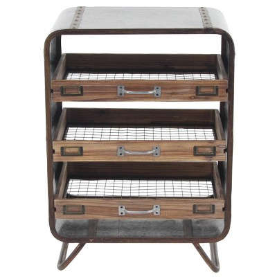 Industrial Chest with 3 Drawers Brown - Olivia & May