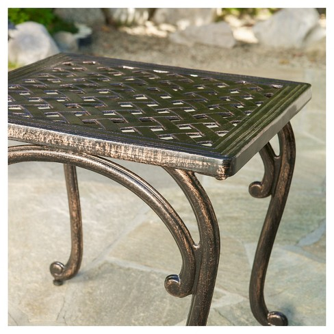 Mckinley Set of 2 Cast Aluminum Patio End Tables - Copper - Christopher  Knight Home : Target - Mckinley Set Of 2 Cast Aluminum Patio End Tables - Copper
