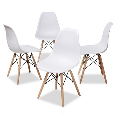 Set of 4 Sydnea Mid Century Modern Acrylic Wood Finished Dining Chairs White - Baxton Studio