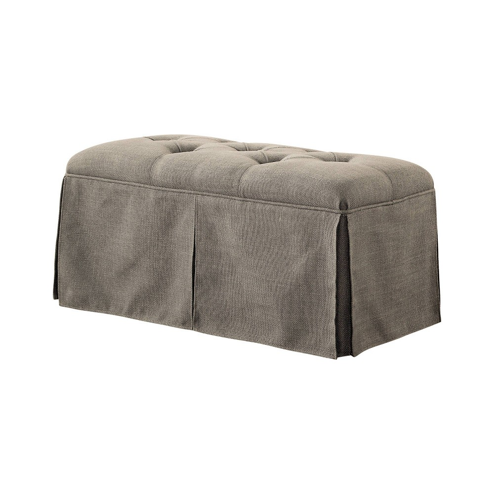 Furman Transitional Button Tufted Fabric Storage Ottoman Brown - Homes: Inside + Out
