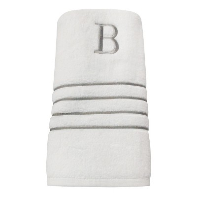 Monogram Bath Towel B - White/Skyline Gray - Fieldcrest®