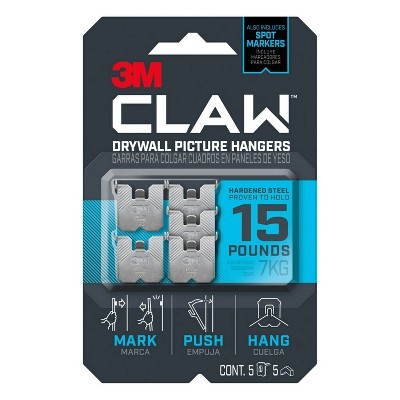 3M 15lb CLAW Drywall Picture Hanger with Temporary Spot Marker + 5 hangers and5 markers