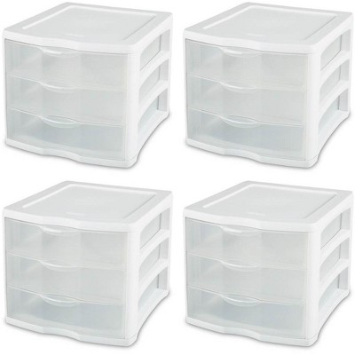 Sterilite ClearView Compact Portable 3 Storage Drawer Organizer Cabinet (4 Pack)