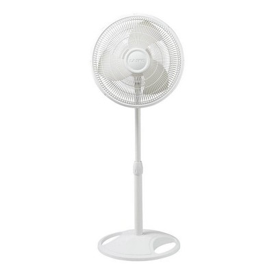 Lasko 16 Inch Oscillating 3 Speed Adjustable Tilting Pedestal Stand Fan, White