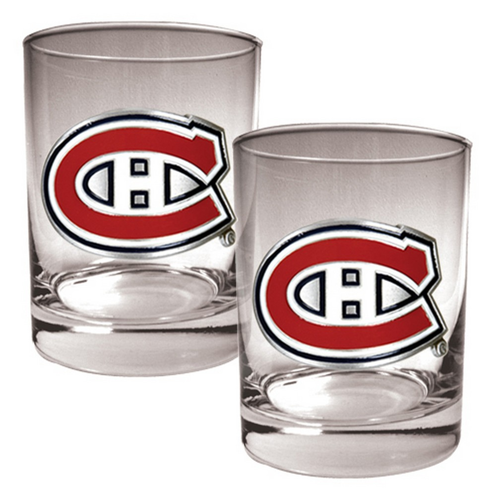 NHL Montreal Canadiens 2pk Metal Emblem Rocks Glass Set