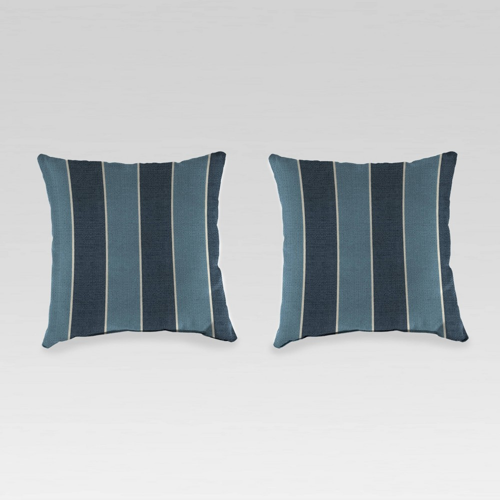 Image of 2pk Square Outdoor Throw Pillows Blue - Jordan Manufacturing