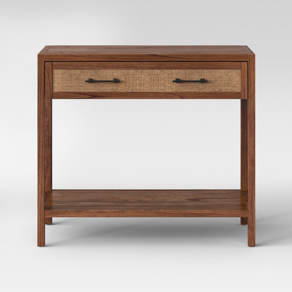 Warwick Wood & Rattan Brown Console Table - Threshold