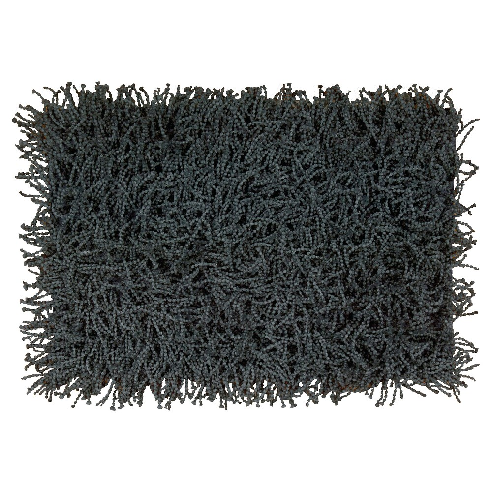 "Image of ""Blue Texture Shag Throw Pillow (24""""x36"""") - Nourison"""