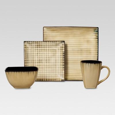 Stoneware 16pc Dinnerware Set Tan Bamboo Pattern - Threshold™