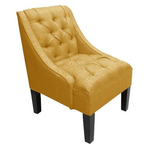 Skyline Swoop Arm Tufted Linen Chair French Yellow - Skyline Furniture® - image 1 of 2