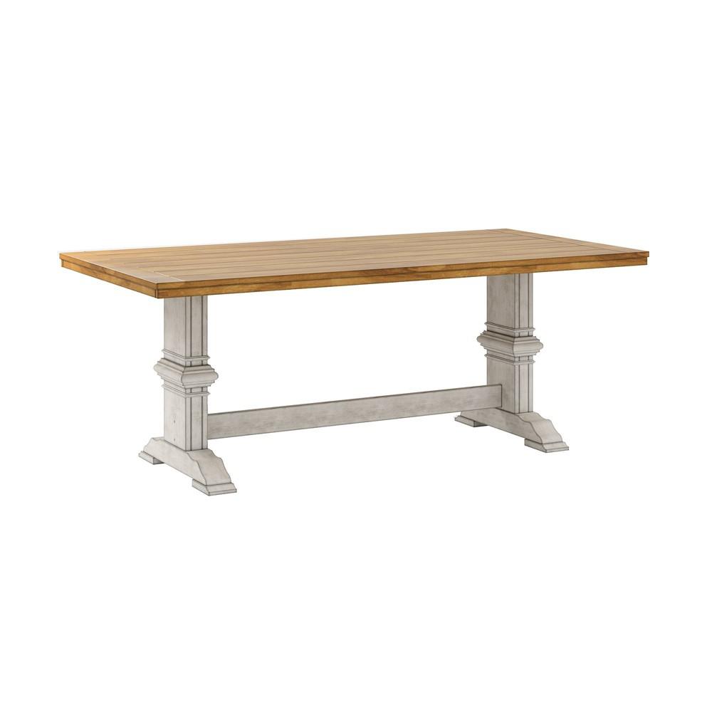 South Hill Farmhouse Extendable Trestle Base Dining Table - Antique White - Inspire Q
