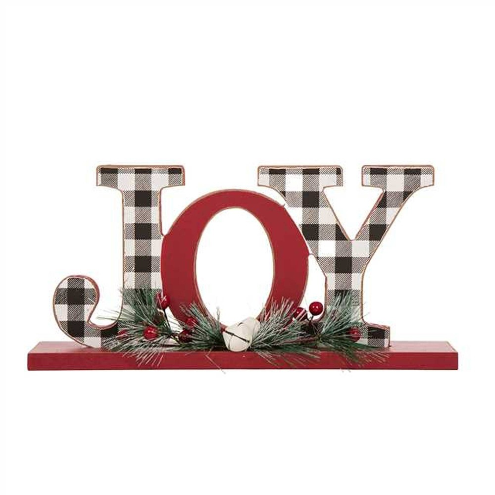 "Image of ""11.5"""" Christmas Wooden Plaid Joy Decorative Figurine - Glitzhome"""