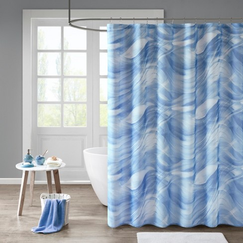 Tide Printed Sheer Lined Shower Curtain Blue