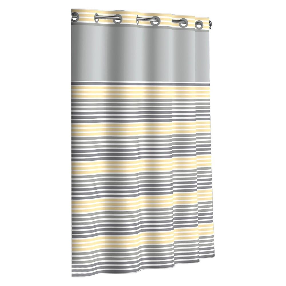 Flex-On by Hookless Ombre Stripe Shower Curtain - Sunlight/Gray