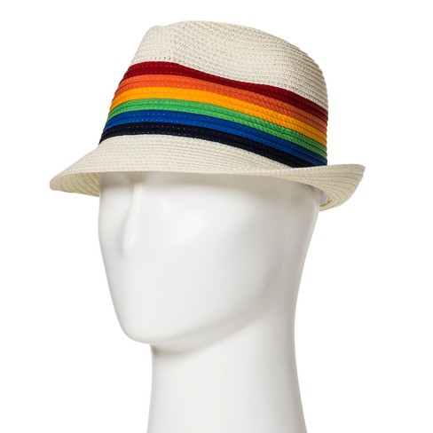 ab1a27470b5 Pride Adult Striped Rainbow Straw Fedora - White   Target