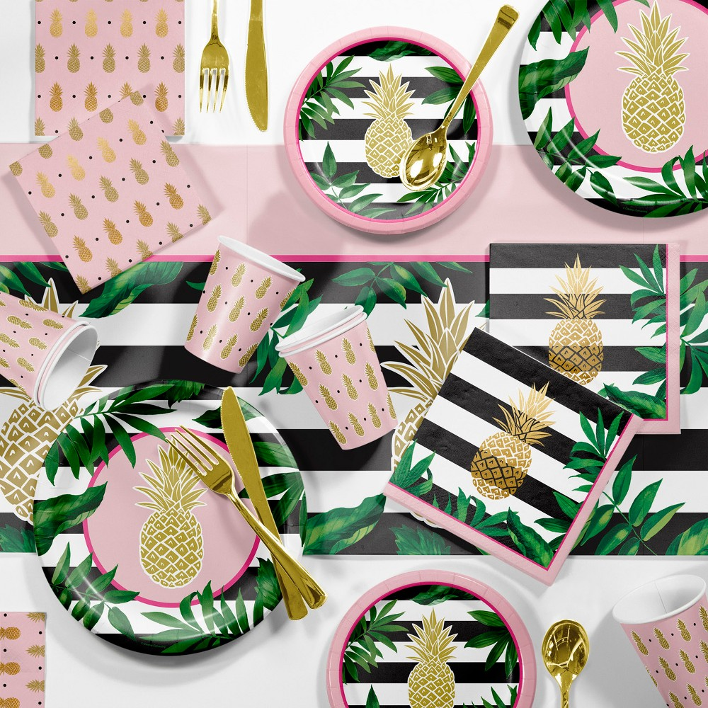 Image of Large Pineapple Party Supplies Kit Gold And Green