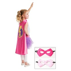 Little Adventures Girls' Hero Cape with Power Mask- Hot Pink/Pale Pink, Girl's, Size: Small