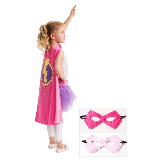 Little Adventures Girls' Hero Cape with Power Mask- Hot Pink/Pale Pink, Girl's, Size: Small image number null
